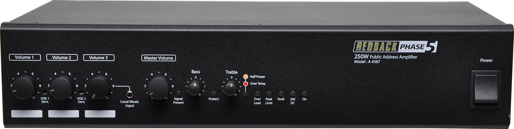 Redback Phase 5 Public Address PA Amplifier 250W 4 Input