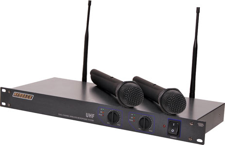 UHF Wireless Microphone System 2 Ch With Two Handheld Mics