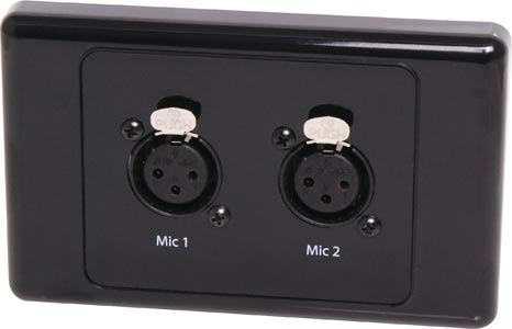 Dual 3 Pin XLR Horizontal Microphone Wallplate Dual Cover Black