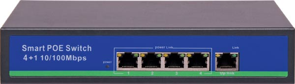 4 Port + Link Port PoE 10/100 Switch For IP Camera Systems