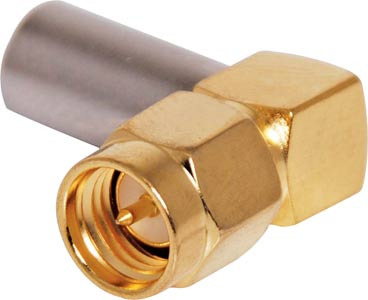 Crimp On Right Angle RG58U Gold Plated Male Plug SMA