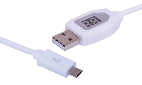 USB A Male to Micro B Male Charging Lead with Display
