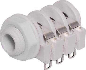 6.35mm 3PST Insulated Stereo Jack Socket White