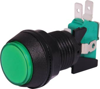 SPDT Momentary LED Green Panel Mount Pushbutton Switch