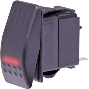 DPST Red Illuminated IP66 Marine Style Flat Rocker Switch