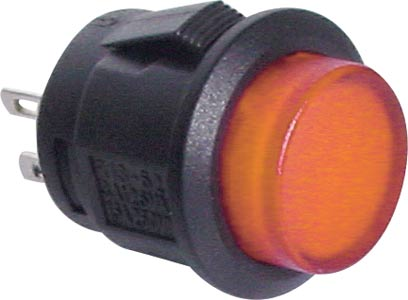 Switch Pushbutton SPST Alt. LED Amber Solder Tail
