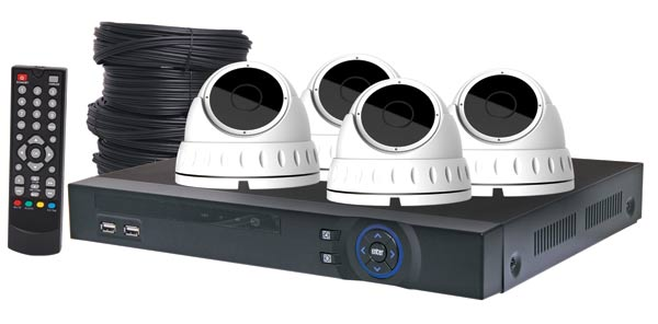 4MP AHD Real Time CCTV Hybrid DVR + 4 Camera Dome Package