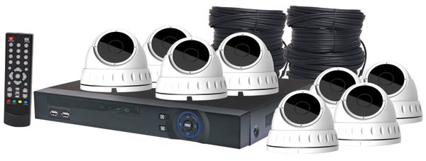 4MP AHD Real Time CCTV Hybrid DVR + 8 Dome Camera Package