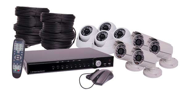 960H CCTV DVR And 4 Camera Bullet 4 Camera Dome Package