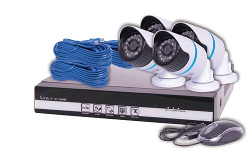 4 Channel 720p NVR IP Bullet Camera Package