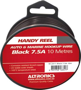 24/0.20 Black 10m Tinned Hook Up Handyman Cable Reel
