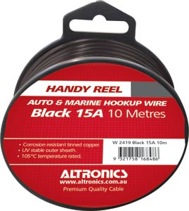 26/0.254 Black 10m Tinned Hook Up Handyman Cable Reel